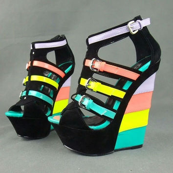 Hot New Design Candy neon colorant match velvet leather Buckle strap ladies Wedge sandals ultra high heels wedges plus size36-41 = 1645903620