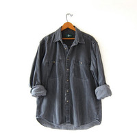 Vintage Faded Black Denim Shirt. Long Sleeve Jean Shirt. Boyfriend Grey Button Up Shirt. Pocket Shirt.