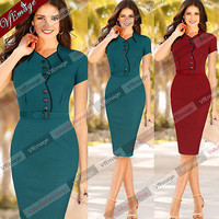 Womens Elegant Check Tunic Work Business Casual Party Pencil Sheath Dress 288