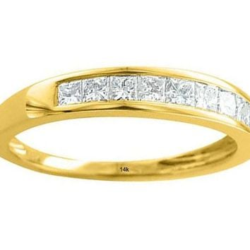 IGI CERTIFIED 14K Gold Princess Cut Diamond 0.45 carat Wedding Ring Band