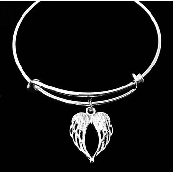 Angel Wings Silver Expandable Charm Bracelet Adjustable Bangle One Size Fits All Gift