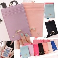 Bow  Bowknot  staff Card Credit card travel card Holder