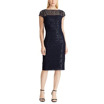 Lauren Ralph Lauren Sequined Lace Cap-Sleeve Dress, Color Navy MSRP:$225.00