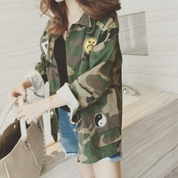 2016 Fashion Camouflage Military Jacket Women Denim Camo Jackets jaqueta feminina Army Green Coats