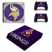 NFL Minnesota Vikings PS4 Slim Skin Sticker Decal For Sony PS4 PlayStation 4 Slim Console and 2 Controllers PS4 Stickers