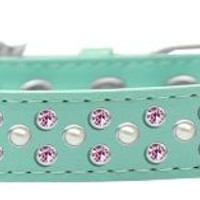Sprinkles Dog Collar Pearl and Light Pink Crystals Size 20 Aqua