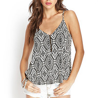 FOREVER 21 Tribal Print Zippered Cami Taupe/Black