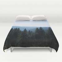 Photo of Scenic View of Tree Lined Valley Duvet Cover by GriffingPhotography