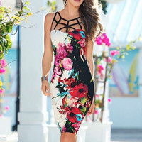 Floral Print Bodycon Pencil Dress B005451