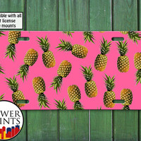 Pineapple Pattern Pink Cute Summer Fruit Pop Art For Front License Plate Car Tag One Size Fits All Vehicle Custom