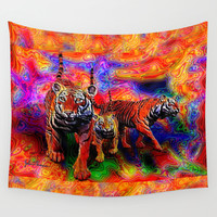 Psychedelic Tigers Wall Tapestry by JT Digital Art