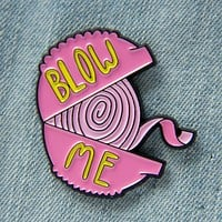 """Blow Me"" Retro Bubble Gum Enamel Pin"