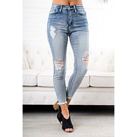 Taneya Distressed Nature Jeans (Light Wash)