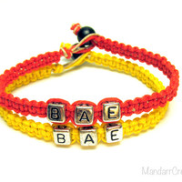 Bracelets for Couples or Best Friends, BAE, Before Anyone Else, Red and Yellow Macrame Hemp Jewelry