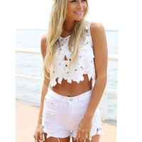 Casual White Side Lace Embroidered Stitching Frayed Hole High Waist Denim Shorts