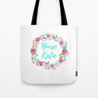 Personalized Gift for Her, Nurse Gift for Women, Large Tote Purse Bag, Watercolor Flowers, Floral Wreath with Initial, Nursing Student Bag