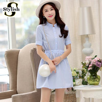 Summer 2016 Fashion Korean Style Short Sleeve White And Blue Striped Dress