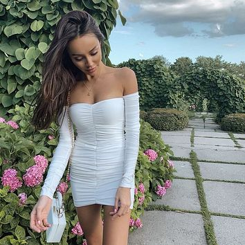 Fashion Solid Color Off Shoulder Long Sleeve Bodycon Pack Hip Mini Dress