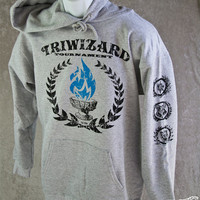 HARRY POTTER HOODIE TriWizard Tournament. Blue Flames of the Goblet of Fire Spit out Harry Potter's Name. For Hogwarts Alumni & Students
