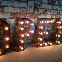 OPEN sign Vintage Style  Metal Letters light fixture 18 inch tall marquee signage