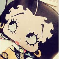 2014 new sale famous brand cute cartoon leather fringe women purses and handbags betty boop bag