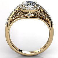 14k yellow gold diamond unusual unique floral engagement ring, anniversary ring, wedding ring ER-1056-2