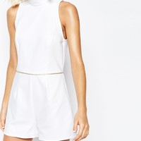 River Island Funnel Neck Playsuit at asos.com