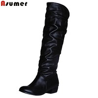 Women PU Leather Knee High Boots