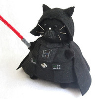 Star Wars Darth Vader Inspired Cat Pincushion cute felt kitty cat collectable or gift for animal lover...MADE-TO-ORDER