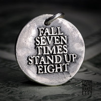 Stand up eight (189) Inspirational Custom Quotes on Solid Pure Silver Pendant, Personalized Necklace, Phone Charm