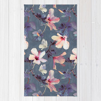 Butterflies and Hibiscus Flowers - a painted pattern Rug by Micklyn