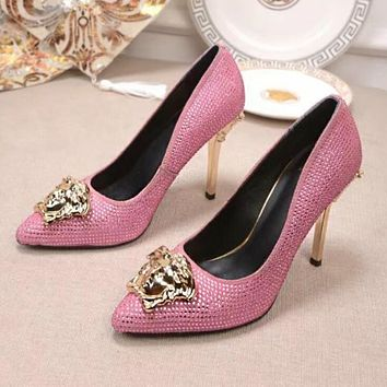 Versace Summer Women Stylish Pure Color Water Drill Leather Stiletto Heel Pointed High Heels Pink I13174-81