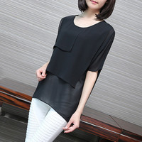 Big Yards Loose Chiffon Shirt For Women Simple Solid color Fifth sleeve Blouse
