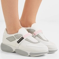 PRADA Cloudbust logo-embossed rubber and leather-trimmed mesh sneakers