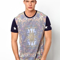 ASOS T-Shirt With Baroque Print And Contrast Sleeves