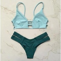 Hollow Strap Backless Bikini Set Swimsuit Swimwear