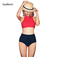 Bikinis Women Swimwear High Waist Swimsuit Red Sexy Swimwear Push Up Crop Top High Neck Bikini Set Retro Bathing Suit Swim