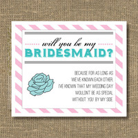 Will You Be My Bridesmaid Greeting Card by RockCandieDesigns