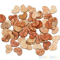 100Pcs Love Heart Wood Sewing Appointment Wedding Decoration Buttons clothing accessories (Size: One Size) [7983633351]