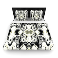 """Dawid Roc """"THe Palace Walls III"""" White Abstract Woven Duvet Cover"""