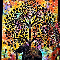 Psychedelic Celestial Elephant Tree Tapestry ,Good Luck Tie Dye Elephant Tapestry , Hippie Gypsy Wall Hanging , Tree of Life Tapestry , New Age Dorm Tapestry, 54x86 inches approx