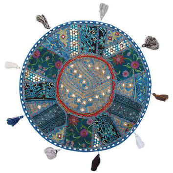 """17"""" Round pouf ottoman Floor Pillow Cushion in Turquoise round embroidered patchwork Bohemian floor cushion pouf Indian Foot Stool Bean Bag"""