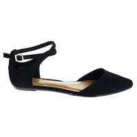 Sequel68M By Bamboo, Almond Toe Flat w Side Chop Out D'Orsay & Double Loop Buckle Strap