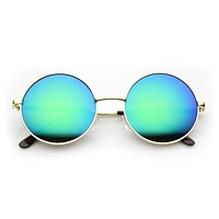 Retro Hippie Round Flash Mirror Lens Metal Sunglasses 9636
