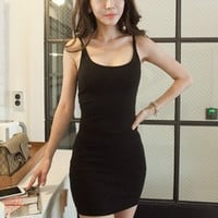 Fashionable Sexy Slim Slim Fit Pack Hip Strap Sleeveless One Piece Dress Top Women Tank Vest b4074