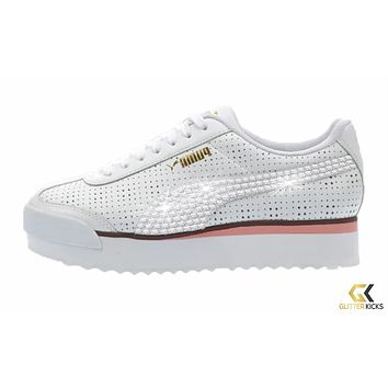 Womens Puma Roma Amor + Crystals - White/Pink   Perf