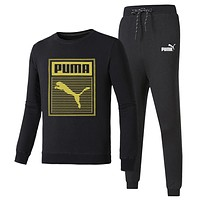 PUMA 2018 autumn and winter new long-sleeved pullover sweater beam foot sweatpants two-piece black