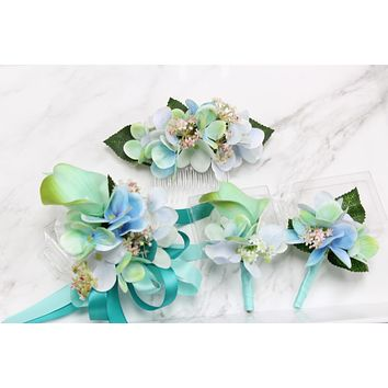 Ocean breeze Hydrangea Calla lily Flower hair comb headpiece corsage boutonniere Ice Blue mint Spa blush wedding Prom homecoming