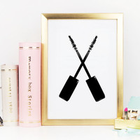 MAKEUP Print,Beauty Art Print,Mascara Print,Gift For Girlfriend,Gift For Wife,Bathroom Wall Art,Makeup Poster,Bathroom Print,Digital Print