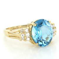 Vintage 14 Karat Yellow Gold Blue Topaz Diamond Cocktail Ring Fine Jewelry